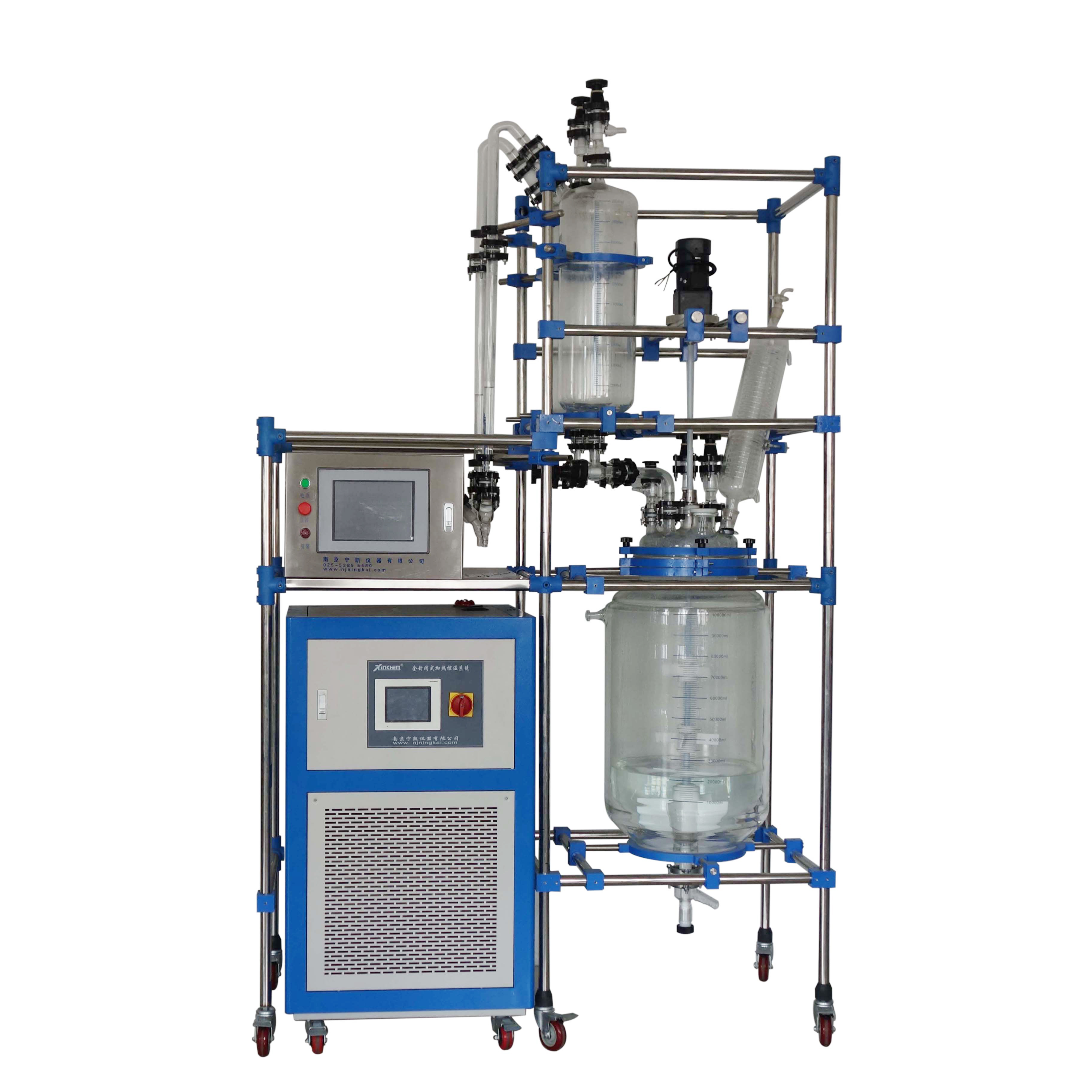High quality 100L Jacketed glass reactor with PLC control